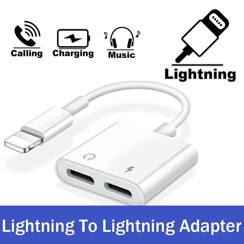 Dual Lightning Audio Earphone Charger Headset Fast Charging Cable Conn-6