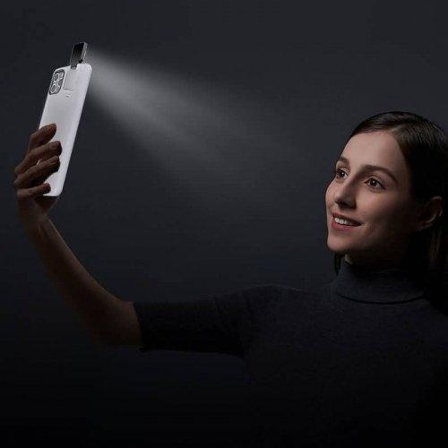 スマート補助光灯 iPhone12ケース LED自撮りライト付き 500mAhバッテリー容量