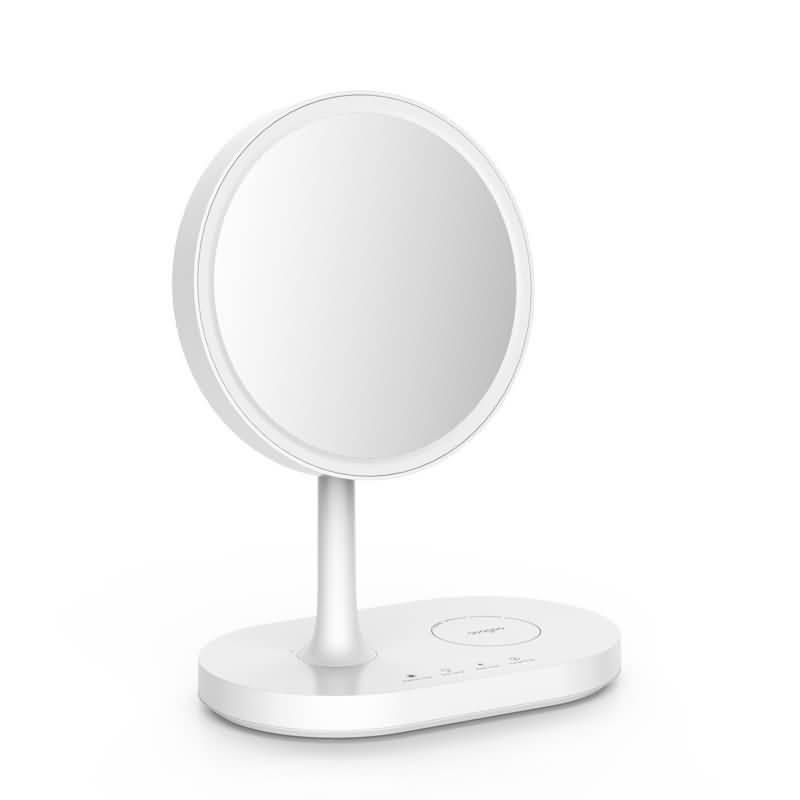 Roogoo 3in1 女優ミラー 卓上 LED ライト 2色調光 明るさ調節 化粧鏡 10W急速充電 卓上ミラー 太陽光に近いLED照明 6.5インチ